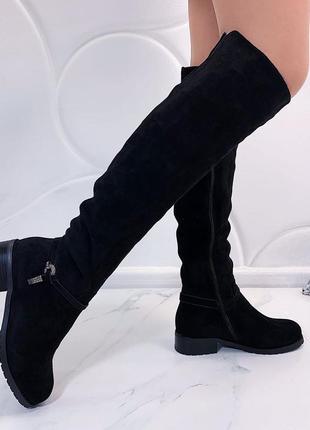 Красивые замшевые высокие сапоги ботфорты на удобном каблуке