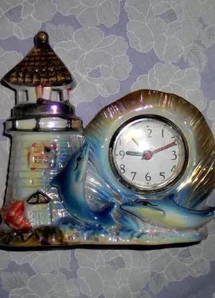 Настольные, механические, часы, будильник, статуэтка Замок