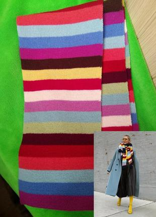 Тёплый модный приятный полосатый шарф снуд палантин