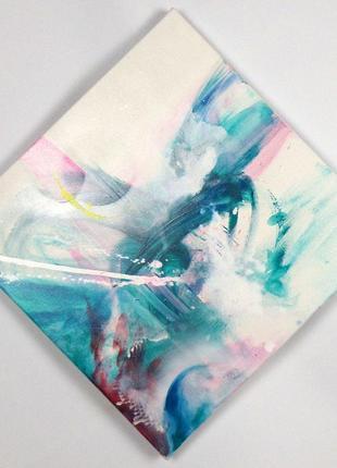 Абстрактная картина, абстракция ромб, бирюзовая интуитивная жи...