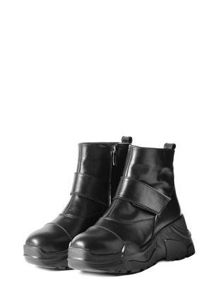 Зимние женские ботинки на толстой высокой подошве