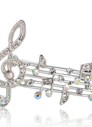 Брошь женская музыка скрипичный ключ ноты серебристая brsf110840