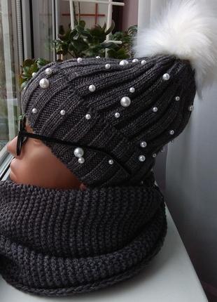 Новый комплект: шапка с бусинами (полный флис) и хомут-восьмер...