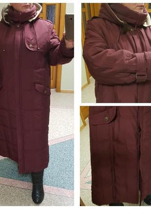 Теплое стеганое длинное пальто (зима) elegance большого размера