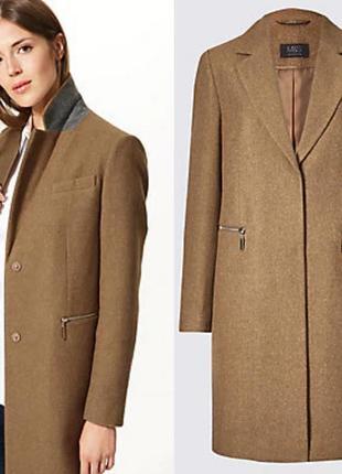 Бежевое коричневое пальто 30% шерсть marks&spencer