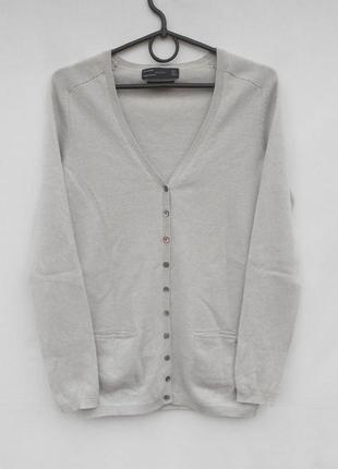 Серый кашемировый кардиган кофта на пуговицах длинный рукав zara