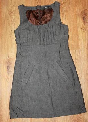 Платье сарафан серый с карманами basement 36 р.