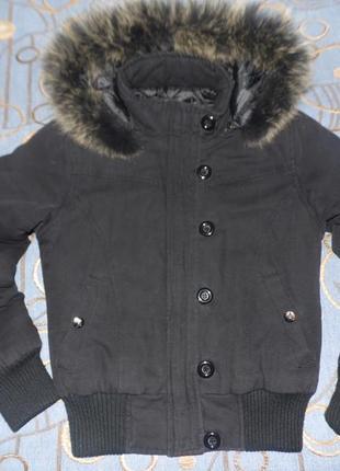 Куртка-парка евро зима с мехом на капюшоне размер s