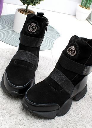 """Зимние ботинки """"Uno""""  - натуральная замша+кожа, ис.мех"""