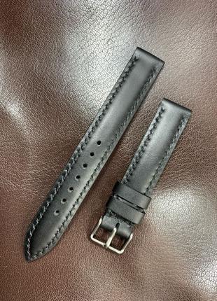 Чёрный кожаный ремешок для часов 14 – 24 мм