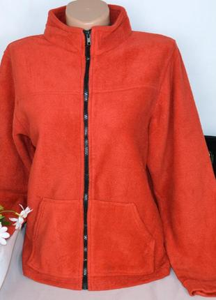 Брендовая флисовая красная кофта на молнии с карманами fission...