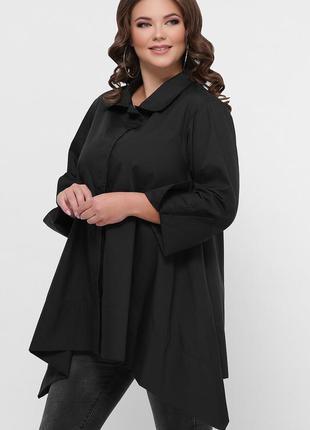 Черная стильная рубашка для полных женщин хлопковая размеры 50...