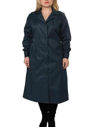 Халат рабочий женский, синий халат в наличии