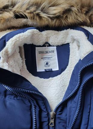 Зимняя синяя куртка с мехом премиум качества, пуховик, коротка...