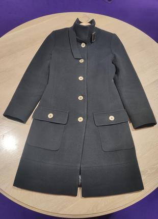 Пальто черное шерстяное не двубортное, приталенное, vaur, zara