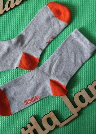 Носки хлопок деми серые оранж tchibo чибо (германия) размер 31...
