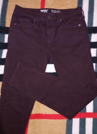 Узкие джинсы, цвет марсала, винный, стрейчевые, скинни