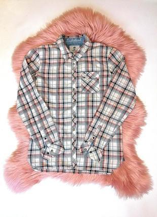 Трендовая рубашка в клетку timberland  оригинал (к067)