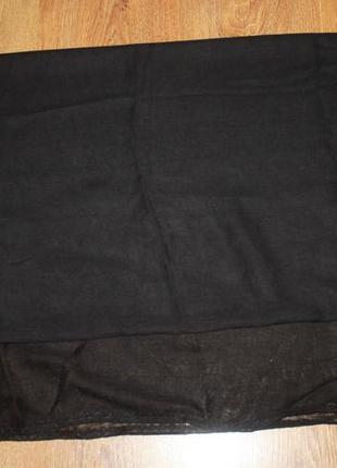 Легкий черный шарф палантин 170*90 см.