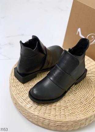 Низкие зимние ботинки из натуральной кожи