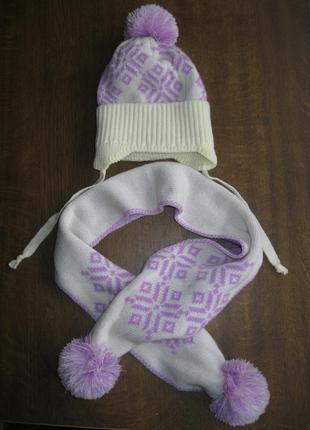 Зимний теплый набор шапка и шарф - для девочки 1-1,5 года