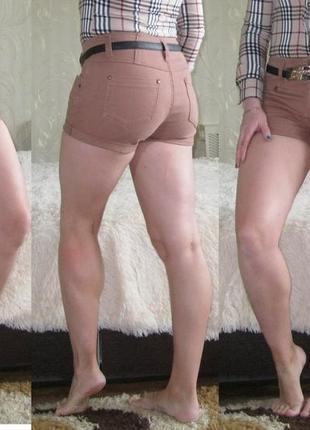 Короткие джинсовые шорты с завышенной талией, 42-44 (неполный 46)