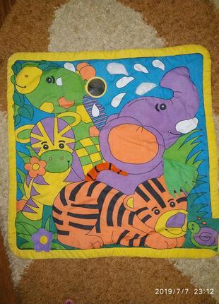 Игровой развивающий коврик для малышей, плотный - на синтепоне