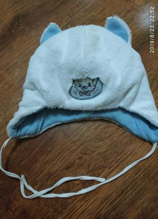 Милейшая шапочка-кошка на ребенка до годика (деми-еврозима)