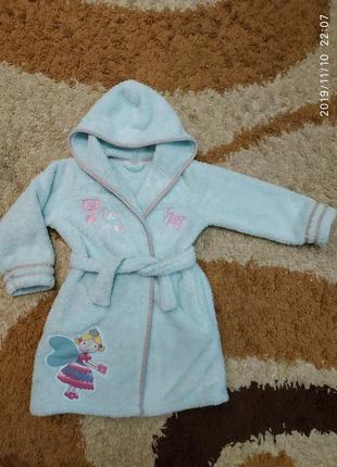 Фирменный теплый меховой халат для девочки 4-6 лет