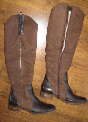 Зимние натуральные замшевые ботфорты,  размер 39-40