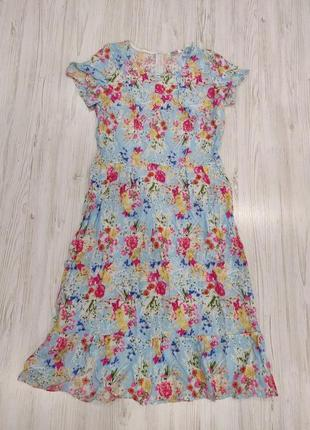 Ликвидация товара 🔥   голубое платье миди в цветы