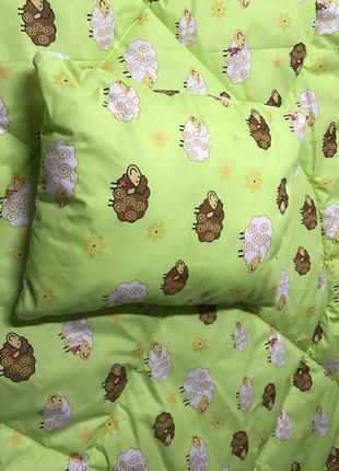 Набор одеялко + подушка детские в кроватку