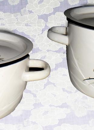 Набор эмалированной посуды, кастрюли с крышками 2 предмета, 4-5 л
