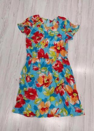 Ликвидация товара 🔥  голубое платье в крупные цветы