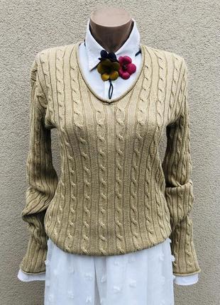 Лен100%,кофта вязаная,джемпер в косы,пуловер,