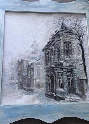 Картина крестиком зима, рождество