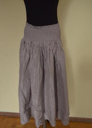 Супер стильная двойная юбка шелк котон