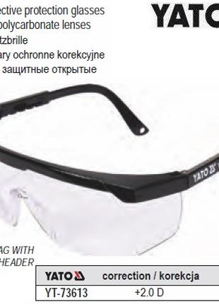 Очки YATO Польща окуляри захисні відкриті корекція зору +2 діо...