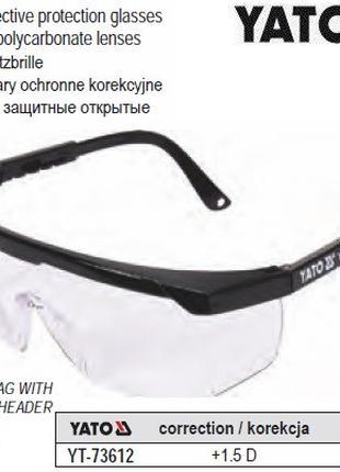 Очки YATO Польща окуляри захисні відкриті корекція зору +1.5 д...