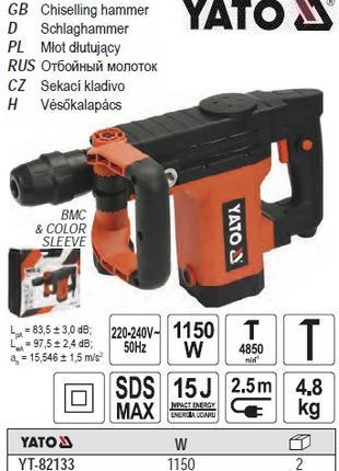 Отбойный молоток YATO Польша перфоратор SDS-MAX P=1150 Вт J=15...