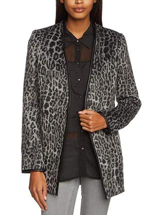Леопардовый удлиненный пиджак жакет с кожаными вставками b.you...