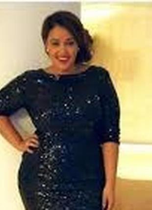 Черное нарядное платье в пайетки блестки с рукавами короткое б...