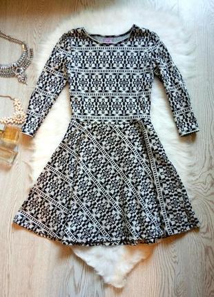 Теплое платье с пышной юбкой солнце клеш черное белое длинный ...