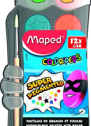 Краски акварельные COLOR PEPS 12 цветов + кисточка