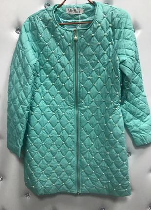 ✅тонкое пальто с жемчугом