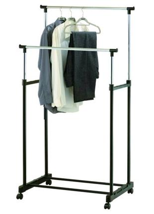 двойная напольная стойка для одежды, телескопическая вешалка