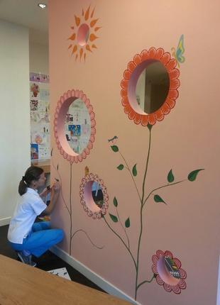 Намалюю( перемалюю)  акриловими фарбами на стіні