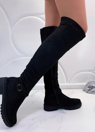 Зимние сапоги ботфорты на низком каблуке, зимние замшевые ботф...