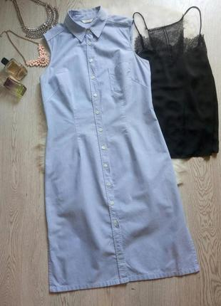 Натуральное голубое платье миди рубашка халат на пуговицах с в...