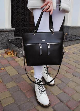 Черная классическая деловая сумка